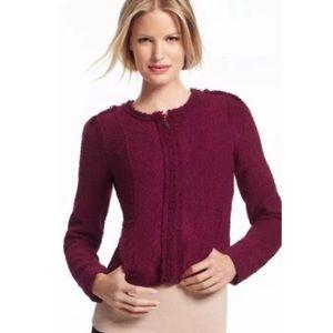 cabi brit boucle tweed burgundy blazer jacket 6